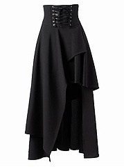 Asymmetric-Hem-Lace-Up-Plain-Flared-Maxi-Skirt