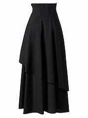 Asymmetric Hem Lace-Up Plain Flared Maxi Skirt
