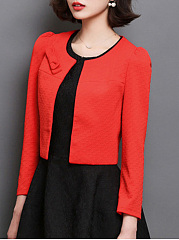 Collarless  Plain Bow Blazer