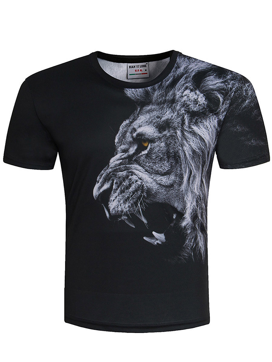 Round Neck 3D Lion Printed T-Shirt