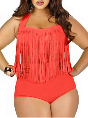 Fringe  Plain Plus Size Swimwear