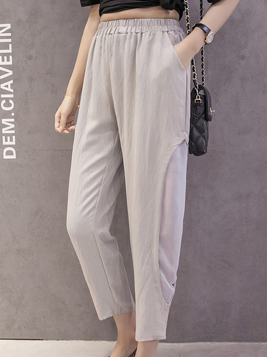 Hollow Out Pegged Casual Pants