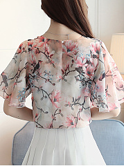 Summer  Chiffon  V-Neck  Floral Printed  Short Sleeve Blouses
