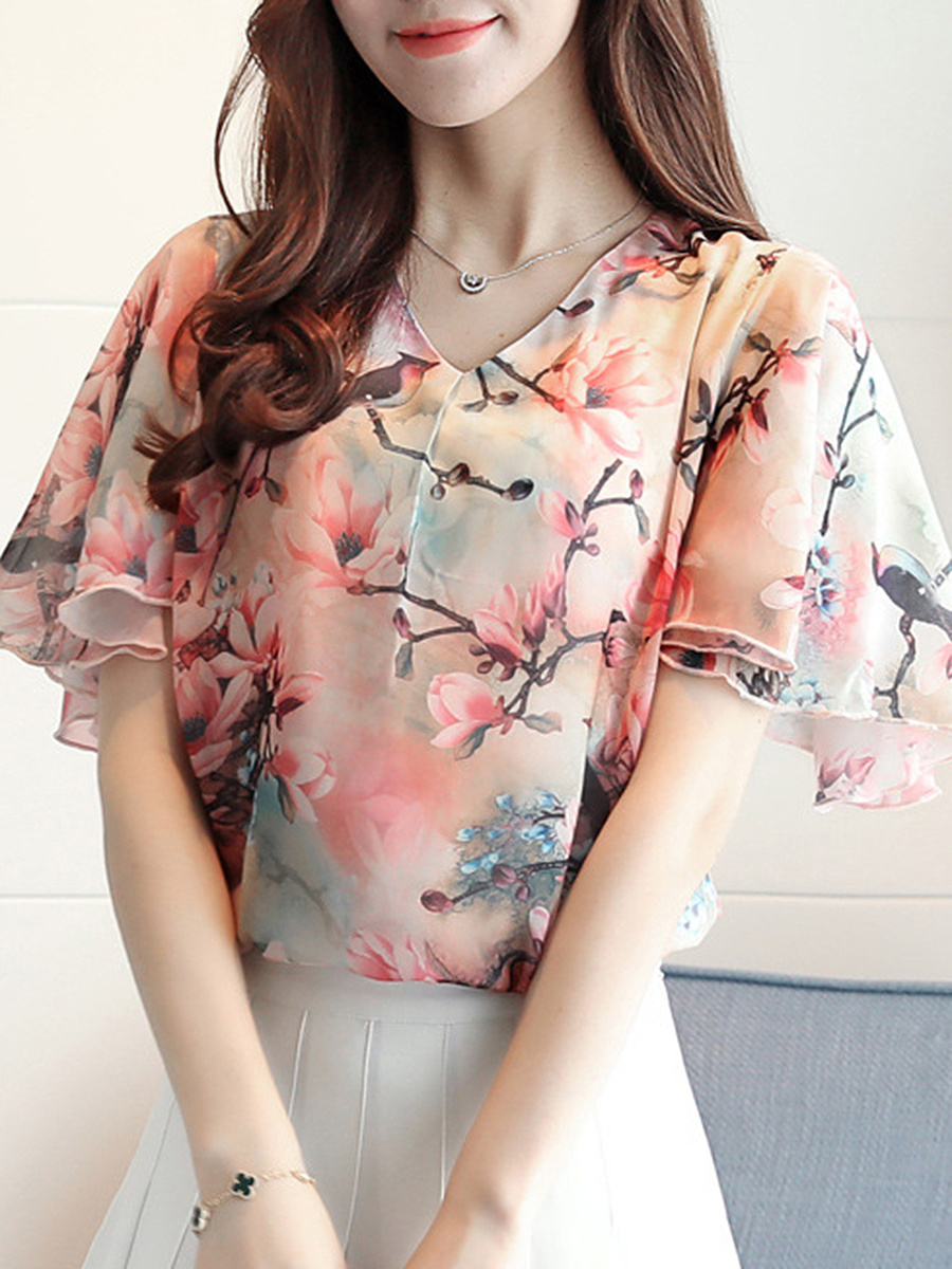 V-Neck Floral Printed Ruffle Sleeve T-Shirt