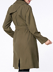 Lapel Removable Tie Pocket Vented Wrap Trench Coat