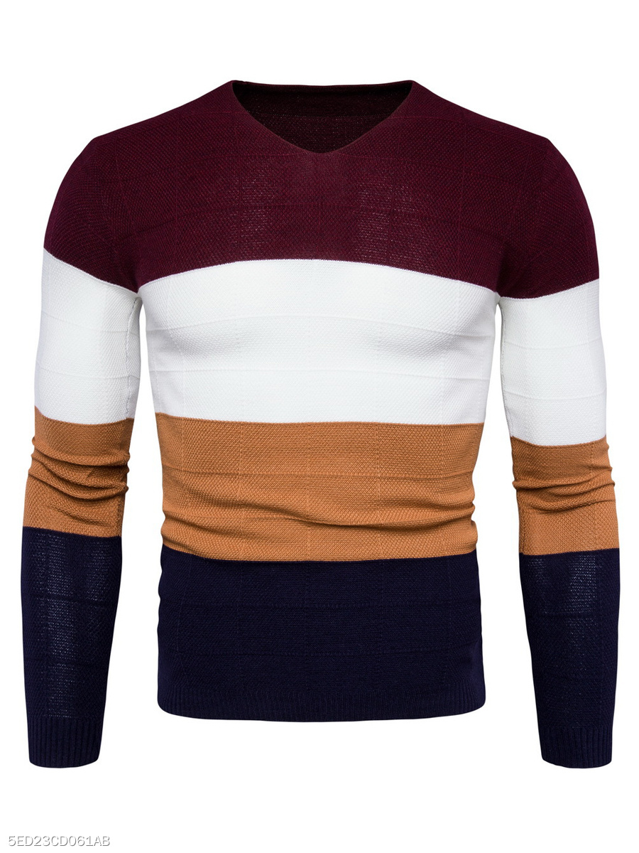 V-Neck Color Block Striped Men'S Sweater