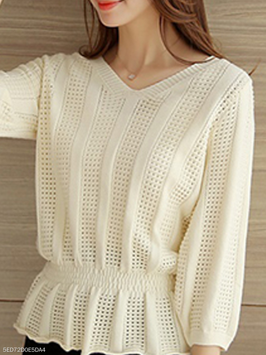 V-Neck  Peplum  Hollow Out Plain  Three-Quarter Sleeve Sweaters Pullover