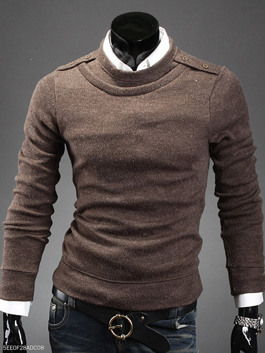Crew Neck  Plain Men Sweater