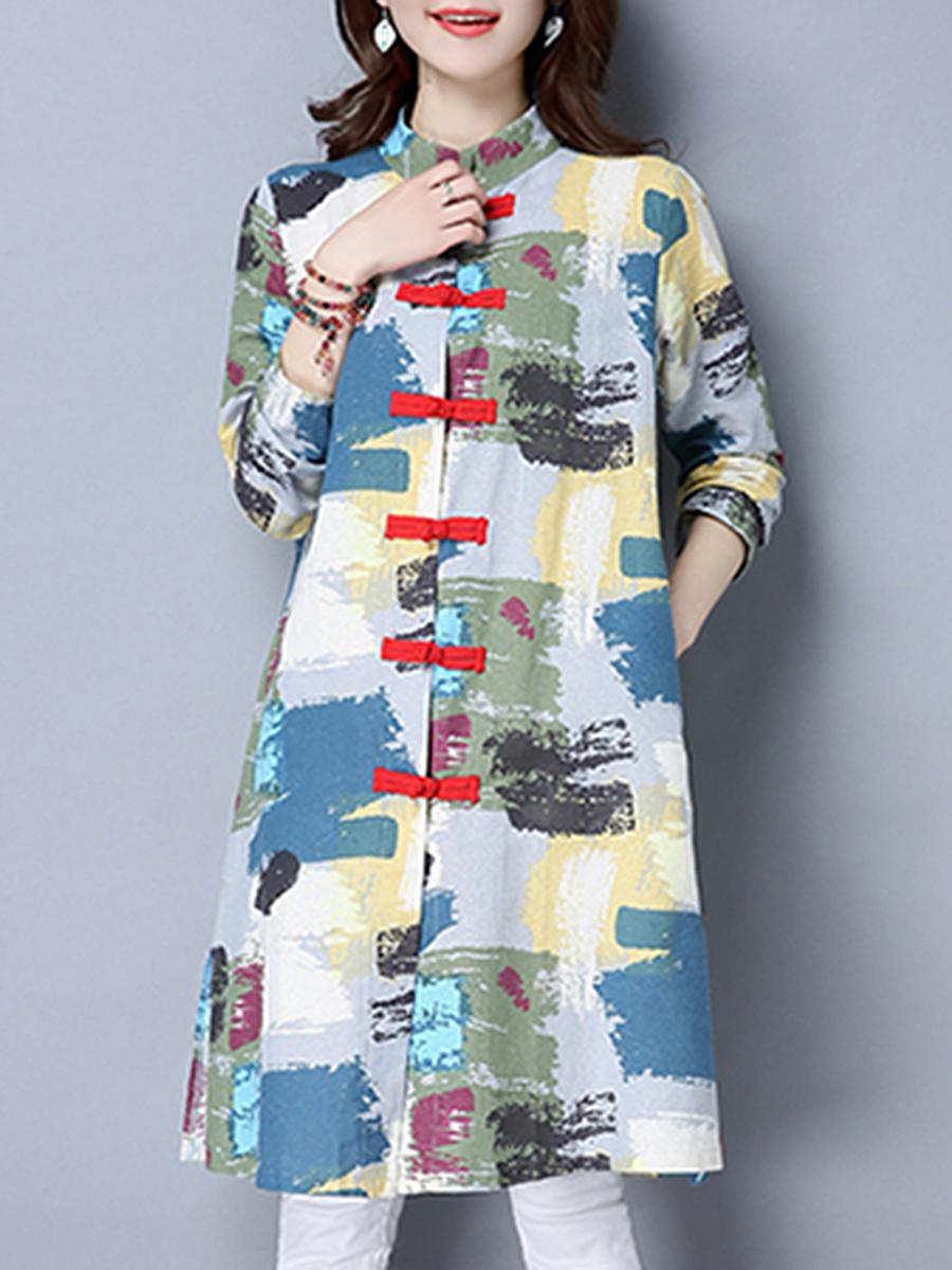 china abstract print autumn spring Abstract Print  Long Sleeve Trench Coats