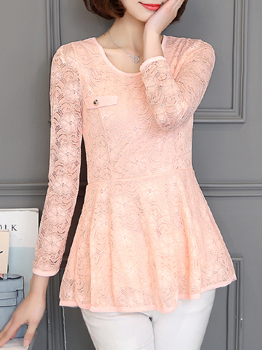 Round Neck Lace Hollow Out Plain Peplum Blouse