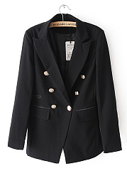 Notch Lapel Double Breasted Flap Pocket Plain Blazer
