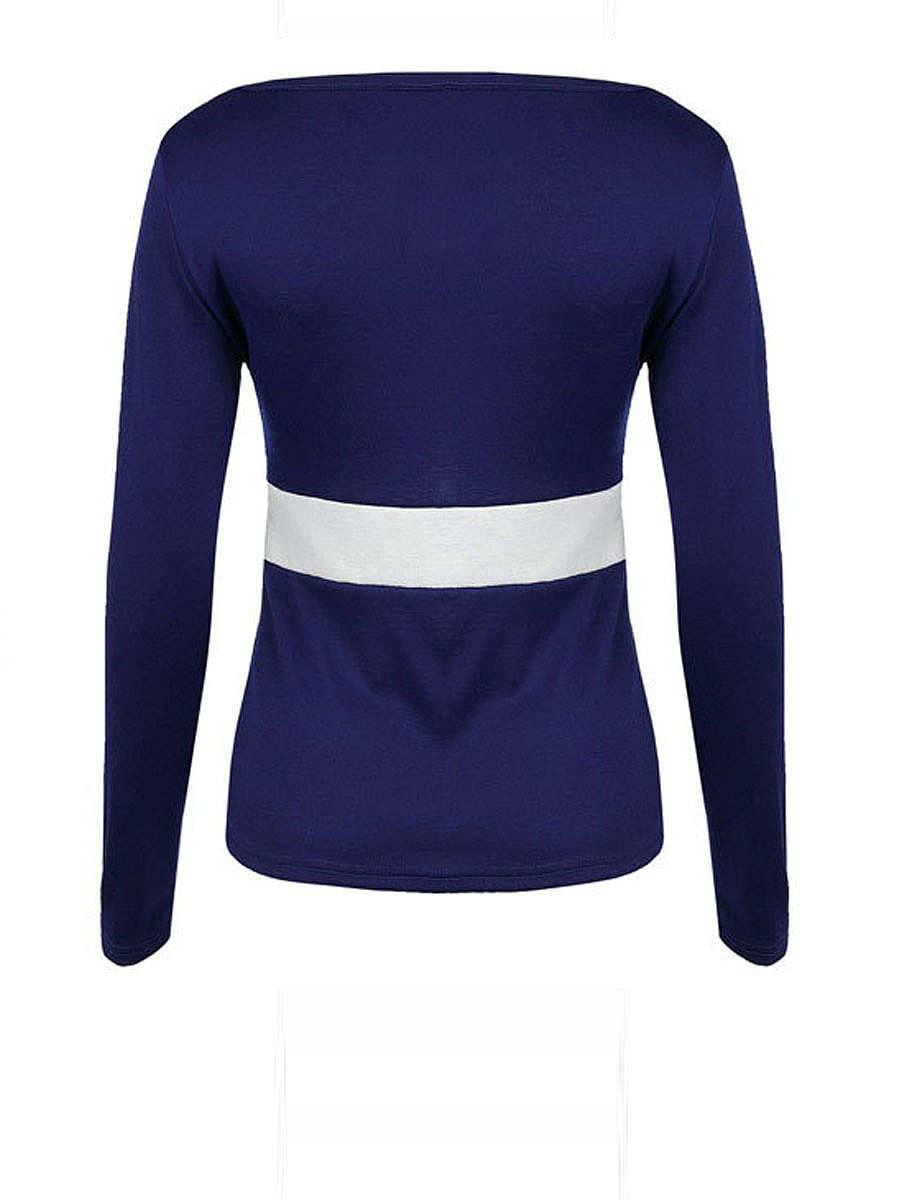 Autumn Spring  Polyester  Women  Square Neck  Patchwork  Plain Long Sleeve T-Shirts