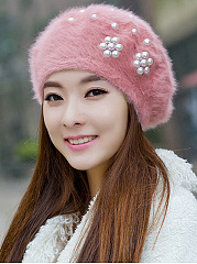 Elegant Stylish Beading Decoration Faux Fur Hats