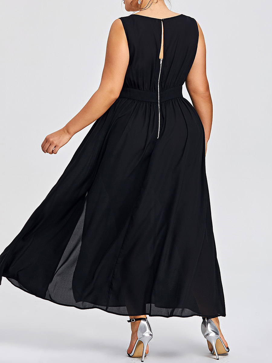 See-Through Side Slit Zips  Plain Plus Size Midi & Maxi Dresses