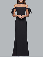 Off Shoulder  Bowknot Side Slit  Plain Evening Dress