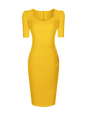 Office Elegant Sweet Heart Slit Plain Bodycon Dress