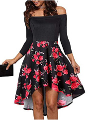 Open Shoulder  Printed Skater Dress