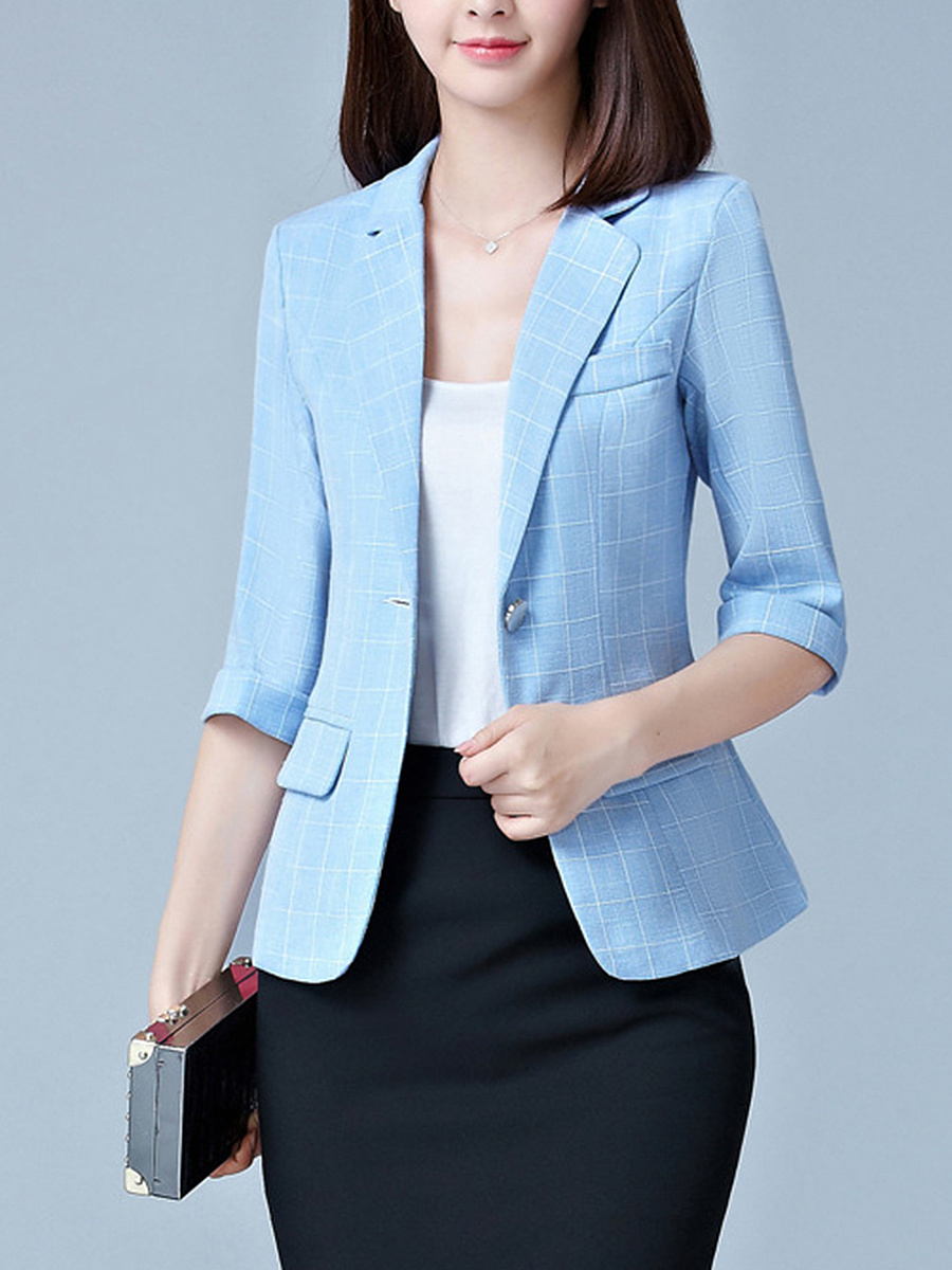 Plaid Notch Lapel  Single Button Cuffed Sleeve Blazer