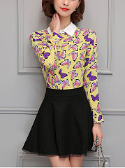 Autumn Spring  Chiffon  Women  Doll Collar  Floral Printed  Long Sleeve Blouses