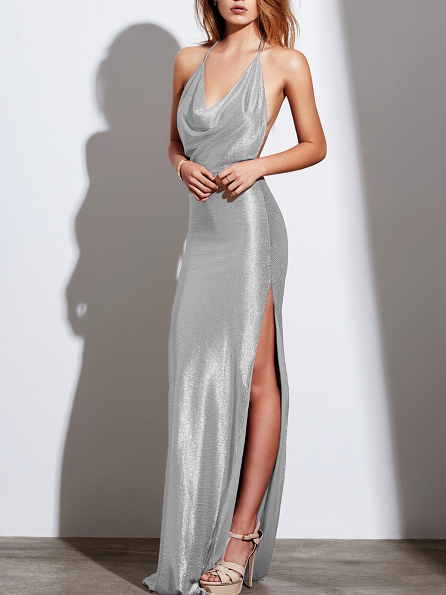 Halter  High Slit  Plain  Polyester Maxi Dress