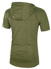 Hooded Zips Plain T-Shirt