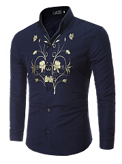 Attractive Printed Turn Down Collar Men Shirts