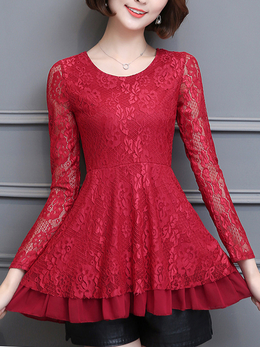 Round Neck  Ruffled Hem Lace Hollow Out Plain Blouse