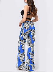 Butterfly Printed Elastic Waist Wide-Leg Casual Pants