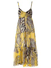Spaghetti Strap  Applique Printed  Chiffon Maxi Dress