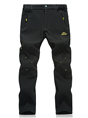 Mens-Casual-Fleece-Lined-Elastic-Waist-Straight-Pants