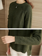 Round Neck  Loose Fitting  Plain  Raglan Sleeve Knit Pullover
