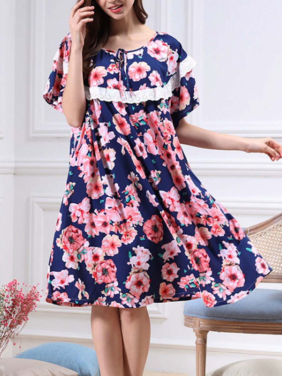 Round Neck Floral Cotton Nightgown