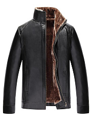 High-Neck-Plain-PU-Leather-Fleece-Lined-Men-Coat