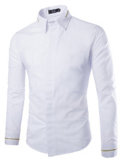 Zips Turn Down Collar Plain Men Shirts