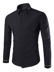 Zips-Turn-Down-Collar-Plain-Men-Shirts