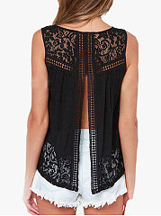 Summer  Cotton  Women  Backless Decorative Lace  Floral Hollow Out  Sleeveless Blouses
