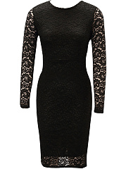 Hollow Out Plain Lace Round Neck Slit Bodycon Dress