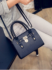 Pu Leather Gold Lock Crossbody Bag