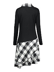 Asymmetric Neck  Asymmetric Hem  Checkered Shift Dress