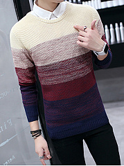 Round Neck Color Block Striped Men'S Sweater