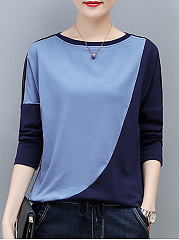 Autumn Spring Winter  Cotton  Women  Round Neck  Color Block Long Sleeve T-Shirts
