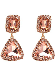 Solid Geometric-Shaped Drop Earrings