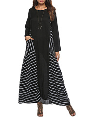Round Neck Casual Color Block Striped Maxi Dress