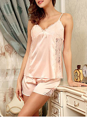 Spaghetti Strap Decorative Lace Pajama Set