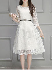 Round Neck Solid Hollow Out Lace Skater Dress
