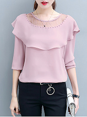 Round-Neck-Beading-Flounce-See-Through-Plain-Long-Sleeve-T-Shirts