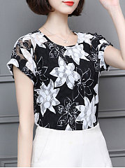 Spring Summer  Polyester  Women  Round Neck  Printed  Short Sleeve Blouses