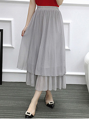 Plain Double Layer Chiffon Flared Maxi Skirt
