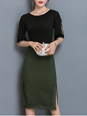 Decorative Lace Side Slit Plain Pencil Midi Skirt
