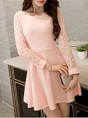 Round Neck  Ruffled Hem  Hollow Out Lace Plain Skater Dress